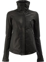 Isaac Sellam Experience Classic Fitted Jacket Cotton Calf Leather Feather Down Duck Feathers Black