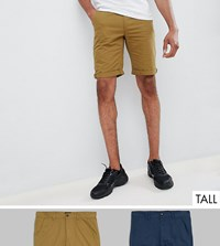 D Struct Tall Chino Shorts 2 Pack Green