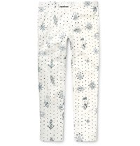 Alexander Mcqueen Slim Fit Printed Cotton Trousers White
