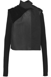 Rick Owens Paneled Leather And Wool Blend Jacket Black