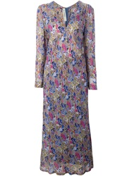 Jean Louis Scherrer Vintage Floral Print V Neck Dress Multicolour