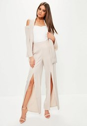 Missguided Pink Satin Split Front Wide Leg Trousers Blush
