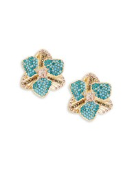 Nanette Lepore Floral Stone Accented Stud Earrings Blue