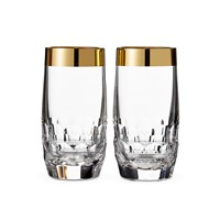 Waterford Draper Hiball Tumblers Set Of 2 Gold Band