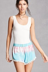 Forever 21 Zandl Europe Tie Dye Shorts Pink Blue