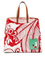 La Doublej Big Mama Printed Canvas And Leather Tote Bag Red White