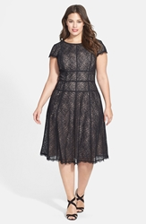 Adrianna Papell 'Converging' Banded Lace Dress Plus Size Black