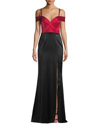 Catherine Deane Liza Off The Shoulder Colorblock Gown In Satin Red