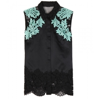 3.1 Phillip Lim Satin And Lace Top Black Mint Multi
