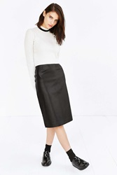 J.O.A. Vegan Leather Midi Pencil Skirt Black