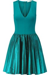 Halston Heritage Stretch Jersey And Taffeta Mini Dress Teal