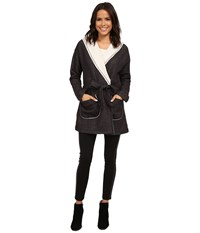 Sanctuary Fleece Wrap Jacket Charcoal Natural Women's Coat Gray