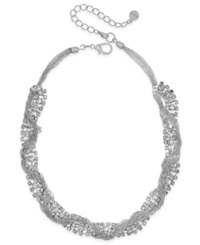 Alfani Silver Tone Crystal Twisted Chain Necklace