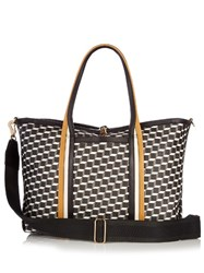 Pierre Hardy Cube Print Coated Canvas Tote Black Yellow