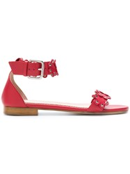 Red Valentino Floral Strap Sandals Red