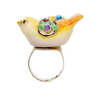 Hop Skip And Flutter Porcelain Bird Ring Yellow Orange