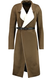 Roland Mouret Odiellus Draped Cotton And Wool Blend Coat Green