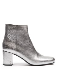 Saint Laurent Babies Leather Ankle Boots Silver