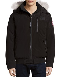 Canada Goose Borden Bomber Jacket With Fur Lined Hood Black