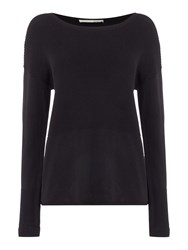 Oui Ribbed Panel Jumper Black