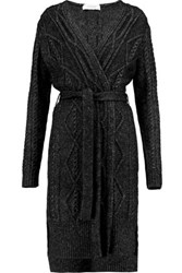 Derek Lam 10 Crosby By Cable Knit Cotton Blend Cardigan Black