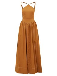 Staud Natasha Halterneck Cotton Blend Poplin Maxi Dress Light Brown