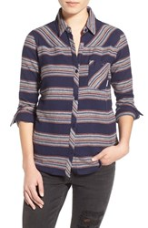 Junior Women's Element 'Pine' Stripe Flannel Shirt Navy