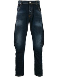 Frankie Morello Distressed Loose Fit Jeans Blue