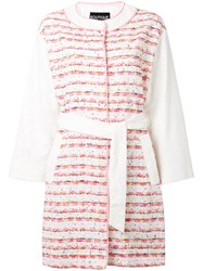 Boutique Moschino Belted Boucle Coat White