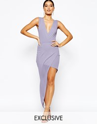 Naanaa Plunge Neck Sleeveless Pencil Dress With Asymmetric Wrap Skirt Purple