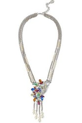 Ben Amun Woman Silver Tone Crystal And Faux Pearl Necklace Silver