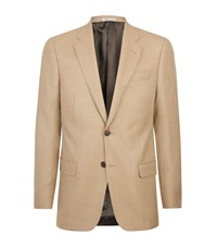 Armani Collezioni Woven Wool Two Button Jacket Beige