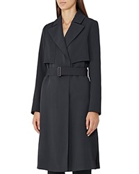 Reiss Lina Long Fluid Trench Coat Night Navy