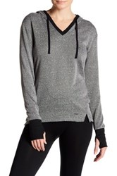 Zobha Activewear Long Sleeve V Neck Hoodie Gray