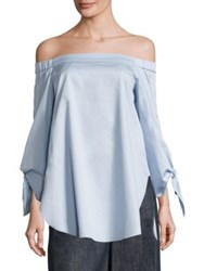 Tibi Satin Poplin Off The Shoulder Tunic Morning Blue Dark Navy