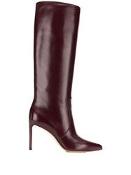 Francesco Russo Pointed Knee Length Boots Red