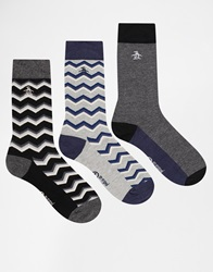 Original Penguin 3 Pack Socks In Gift Box Black
