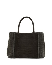 Nancy Gonzalez Small Sectional Crocodile Tote Bag Matte Black