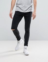 Selected Homme Plus Jeans In Skinny Fit Grey Denim With Rip Knee Detail Dark Grey W Cut
