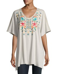 Johnny Was Embroidered V Neck Poncho Sand