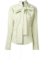 Marc Jacobs Oversized Bow Blouse Green