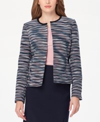 Tahari By Arthur S. Levine Asl Striped Jacquard Blazer Rose Navy