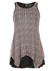 Izabel London Crochet Overlay Top Pink