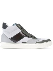 Lanvin Panelled Hi Top Trainers Men Calf Leather Leather Rubber 6 Grey