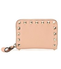 Valentino Rockstud Leather Coin Purse Beige