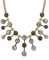 2028 Necklace Gold Tone Antique Look Crystal Statement Necklace