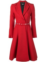 Karl Lagerfeld Belted Double Breasted Coat Red