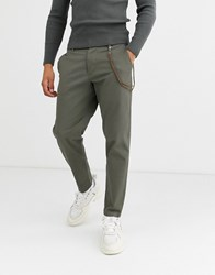 Topman Tapered Chinos With Chain In Khaki Green