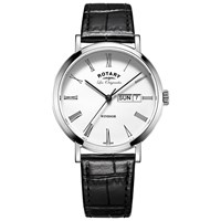 Rotary Gs90153 01 Men's Les Originales Windsor Day Date Leather Strap Watch Black White