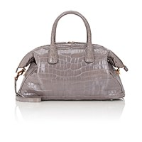 Zagliani Women's Crocodile Tebako Satchel Light Grey